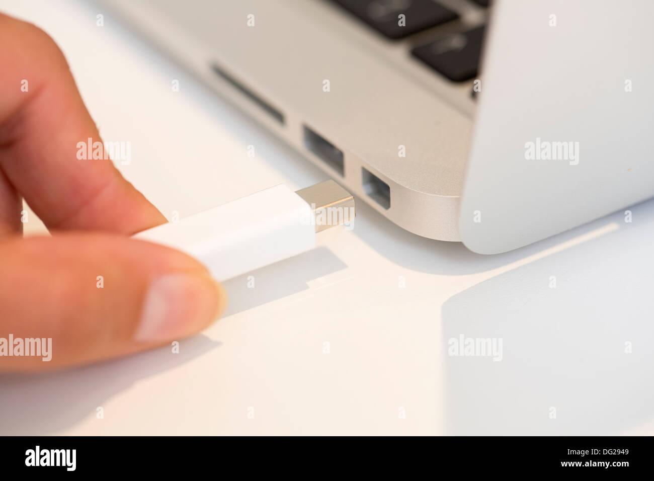 Weibliche Verbindung Schreibtisch Laptoptastatur indoor Stockbild