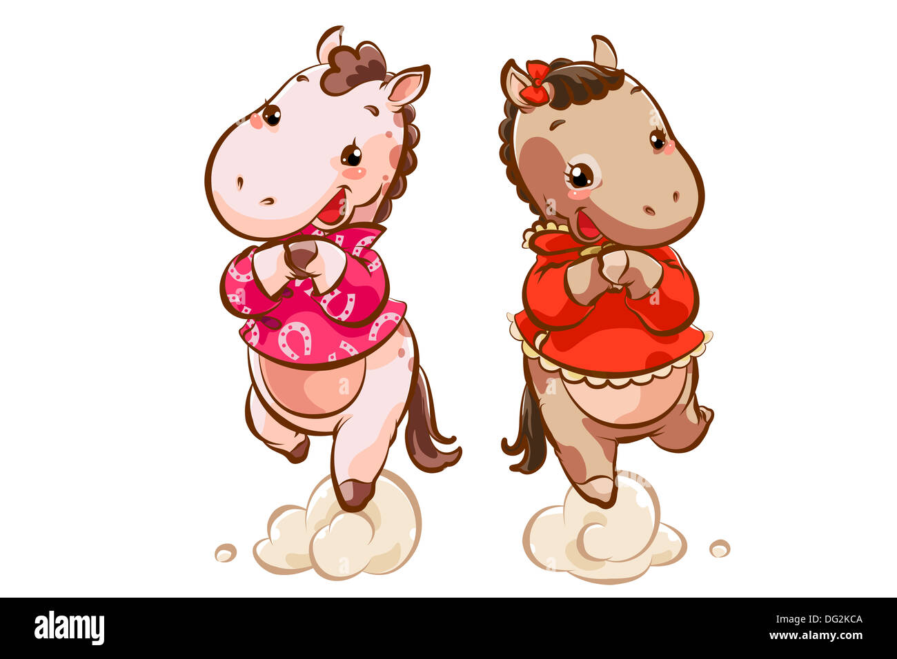 Niedliche Pferde Gruß für Chinese New Year Stockfoto, Bild: 61524746 ...