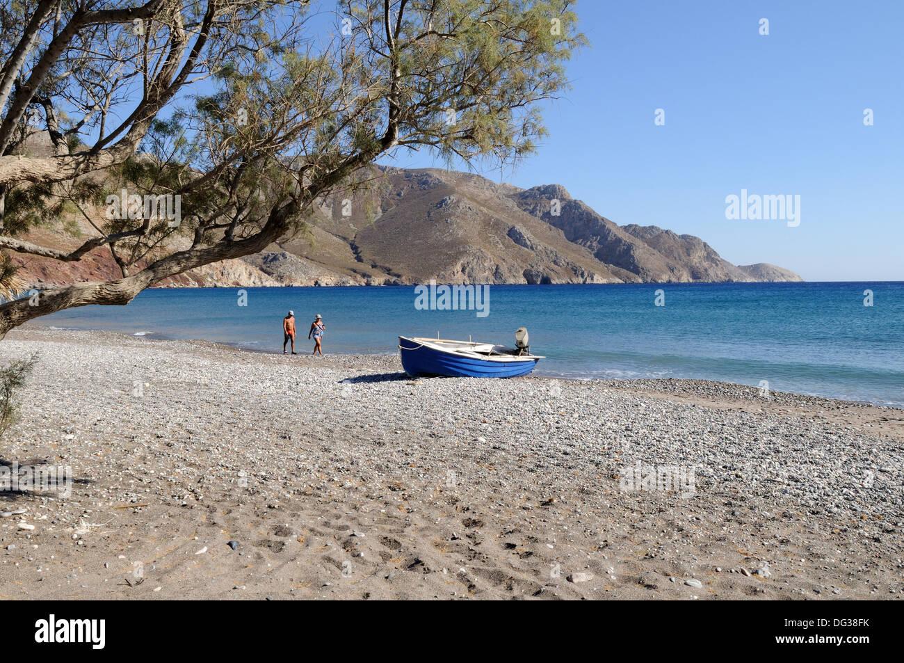Eristos Beach Tilos griechische Insel der Dodekanes-Griechenland Stockbild