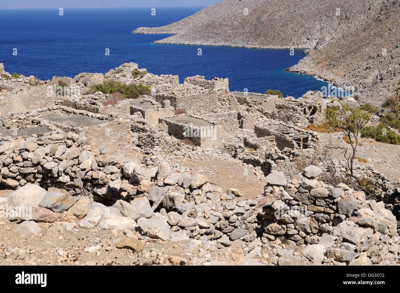 Th verlassen Dorf von Gera Ghera Tilos griechische Insel der Dodekanes Griechenland Stockbild