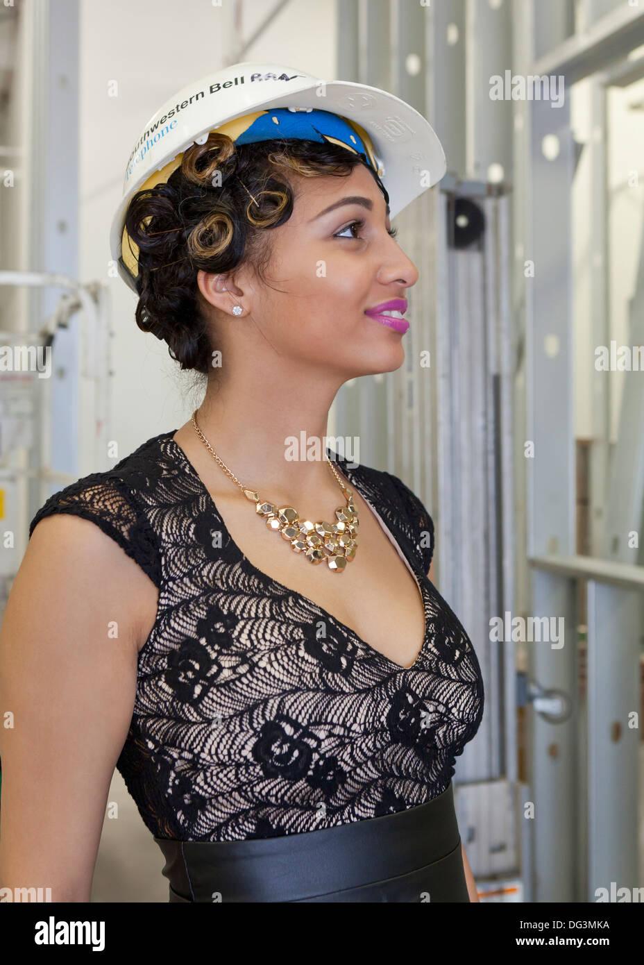 Weibliche Supervisor bei Baustelle - USA Stockbild
