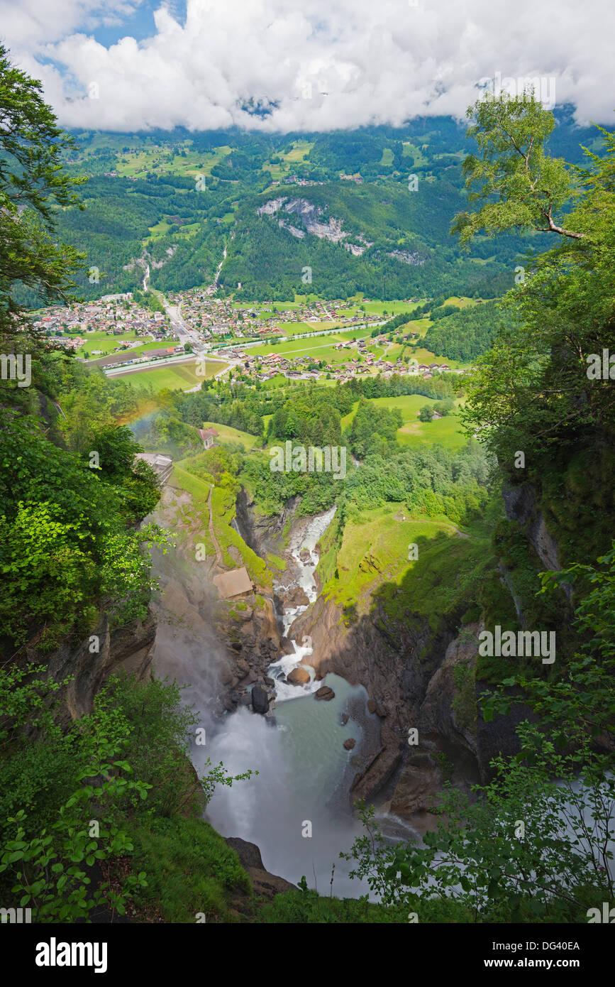 Reichenbachfall, fiktive Position des Sherlock Holmes Tod, Meiringen, Schweiz, Europa Stockbild