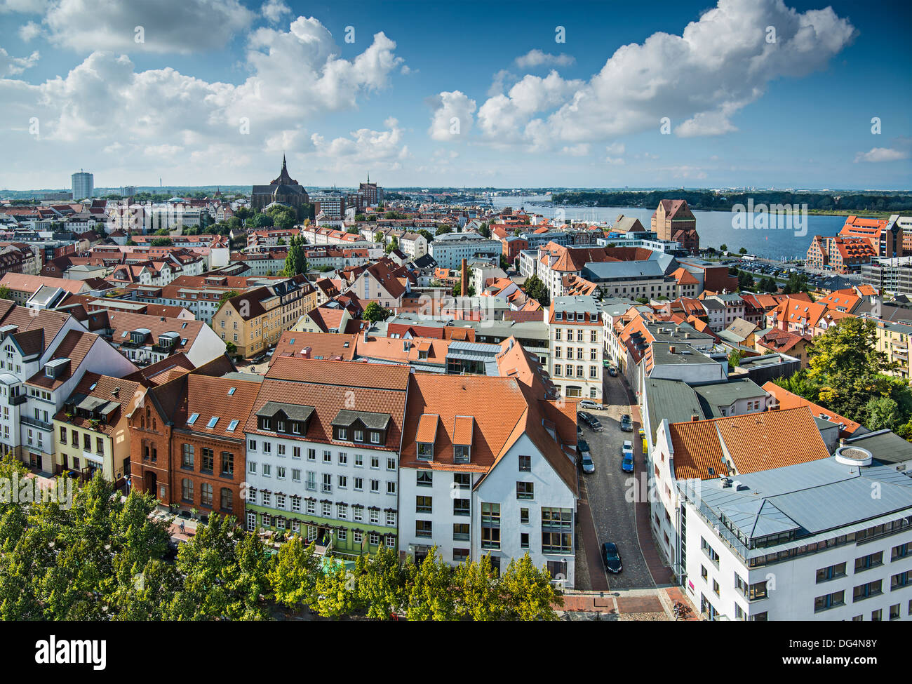Skyline von Rostock, Deutschland. Stockbild