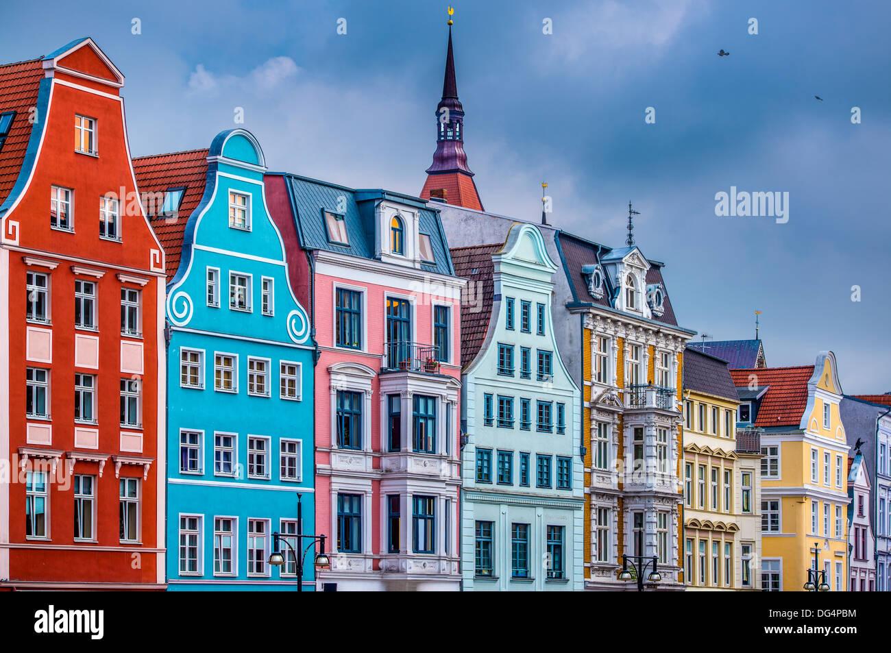 Historische Gebäude in Rostock, Deutschland. Stockbild