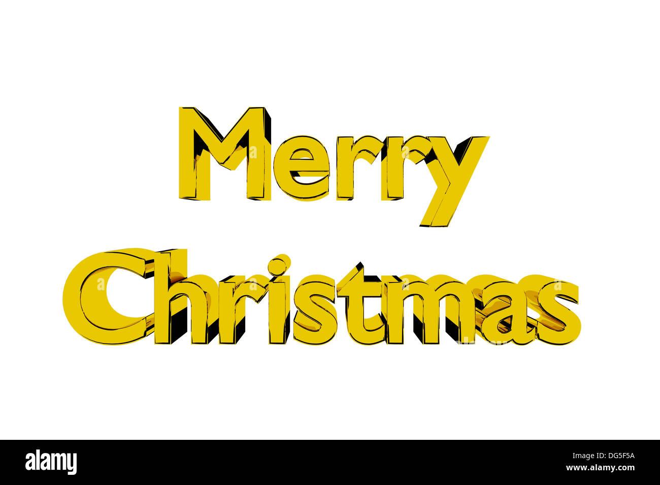 3D Abbildung des goldenen Merry Christmas Schriftzug auf weißem Hintergrund Stockbild