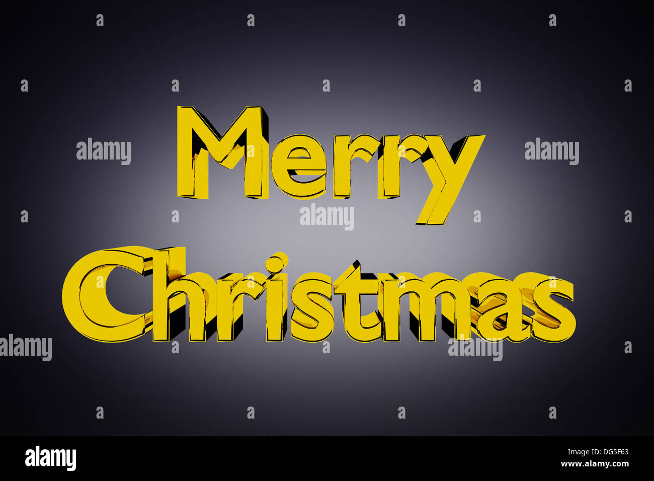 3D Abbildung des goldenen Merry Christmas Schriftzug auf einem grauen Hintergrund Stockbild