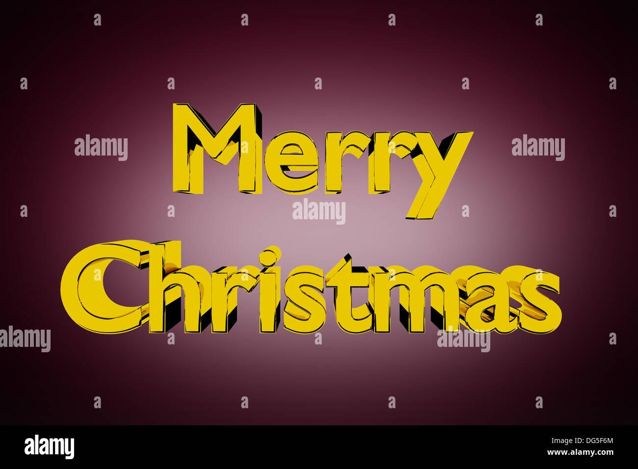 3D Abbildung des goldenen Merry Christmas Schriftzug auf rotem Grund Stockbild