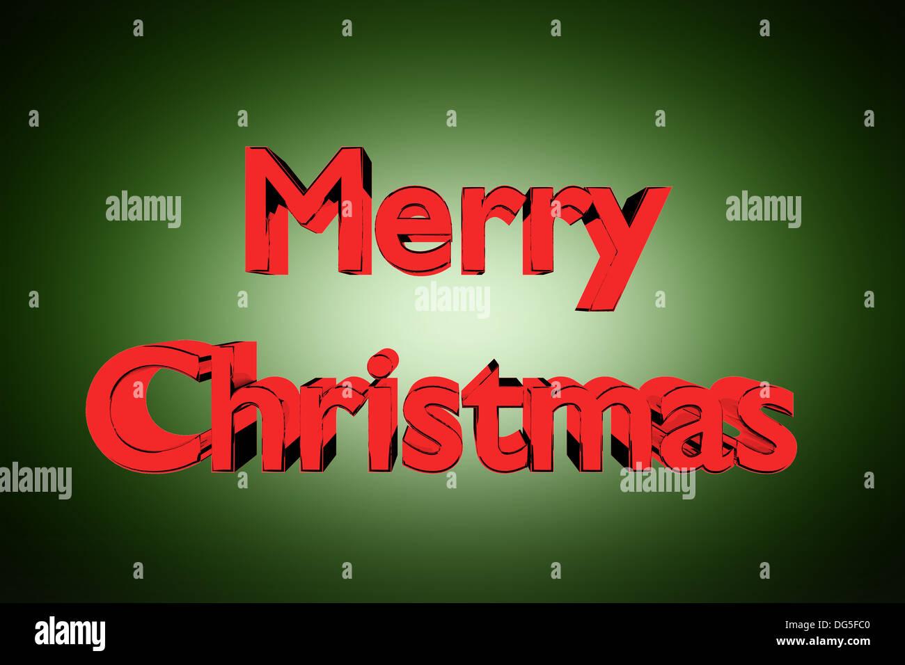 3D Abbildung des goldenen Merry Christmas Schriftzug auf grünem Hintergrund Stockbild
