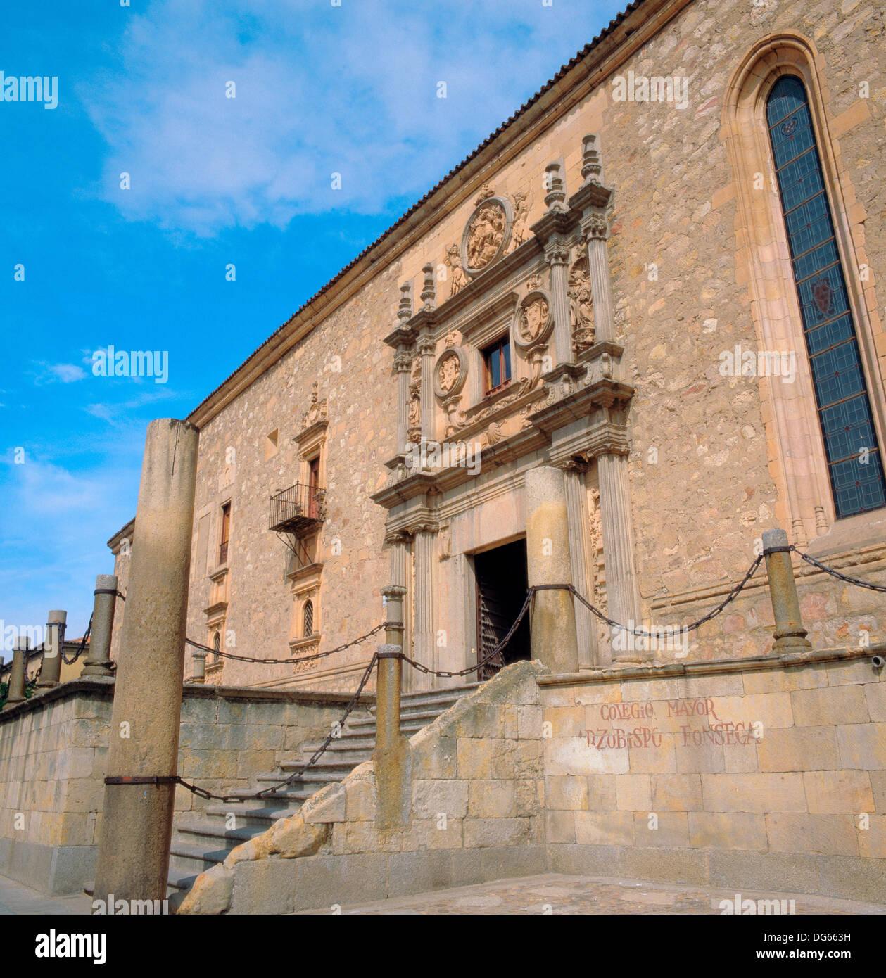 Fassade des Colegio de Fonseca Palast (1528 ? 1578), Salamanca. Kastilien-León, Spanien Stockbild
