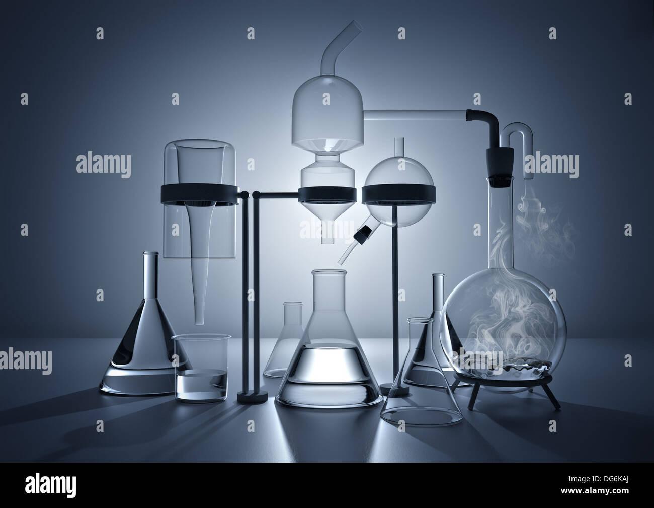 Die Chemie Labor verschiedene Glas-Chemie-Labor-equipment Stockbild