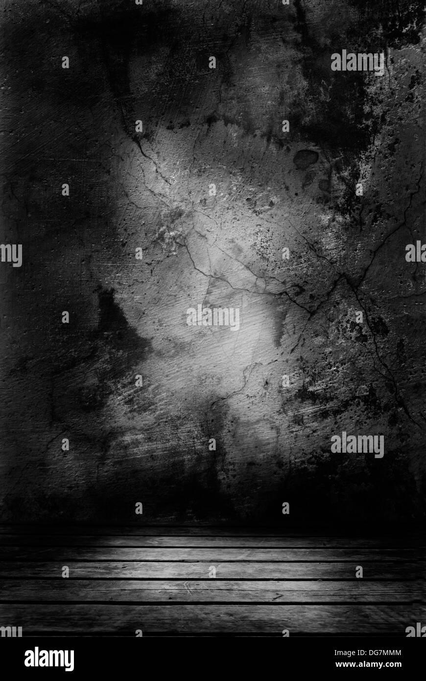 Geheimnisvollen Dunklen Raum Mit Zerstörten Mauer Stockfoto Bild