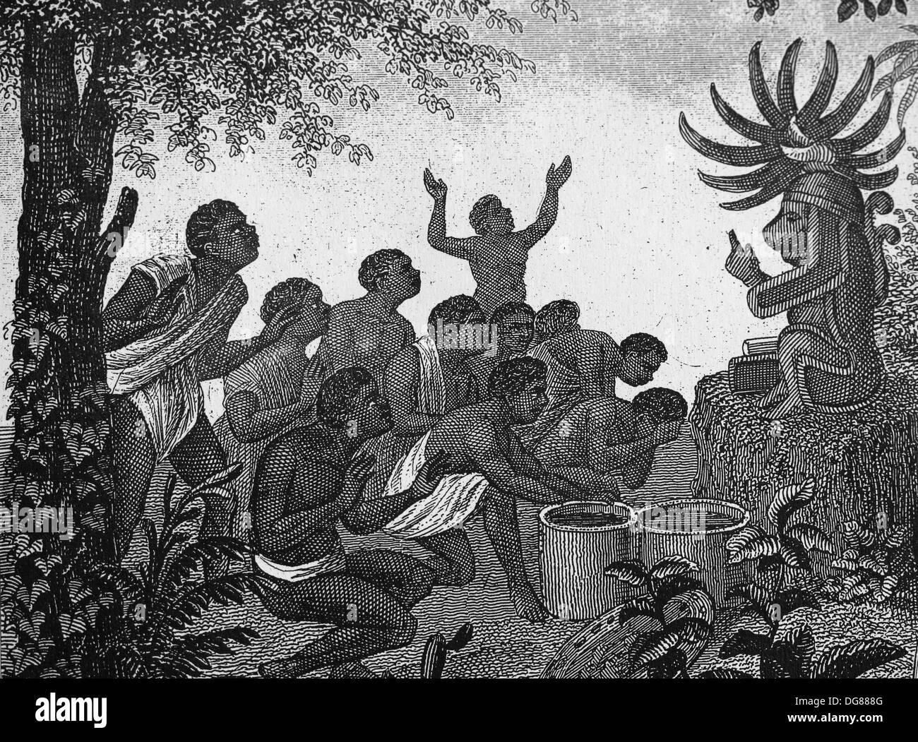 Religion. Götzendienst in Zentral-Afrika. Kultbild. Gravur Stockbild