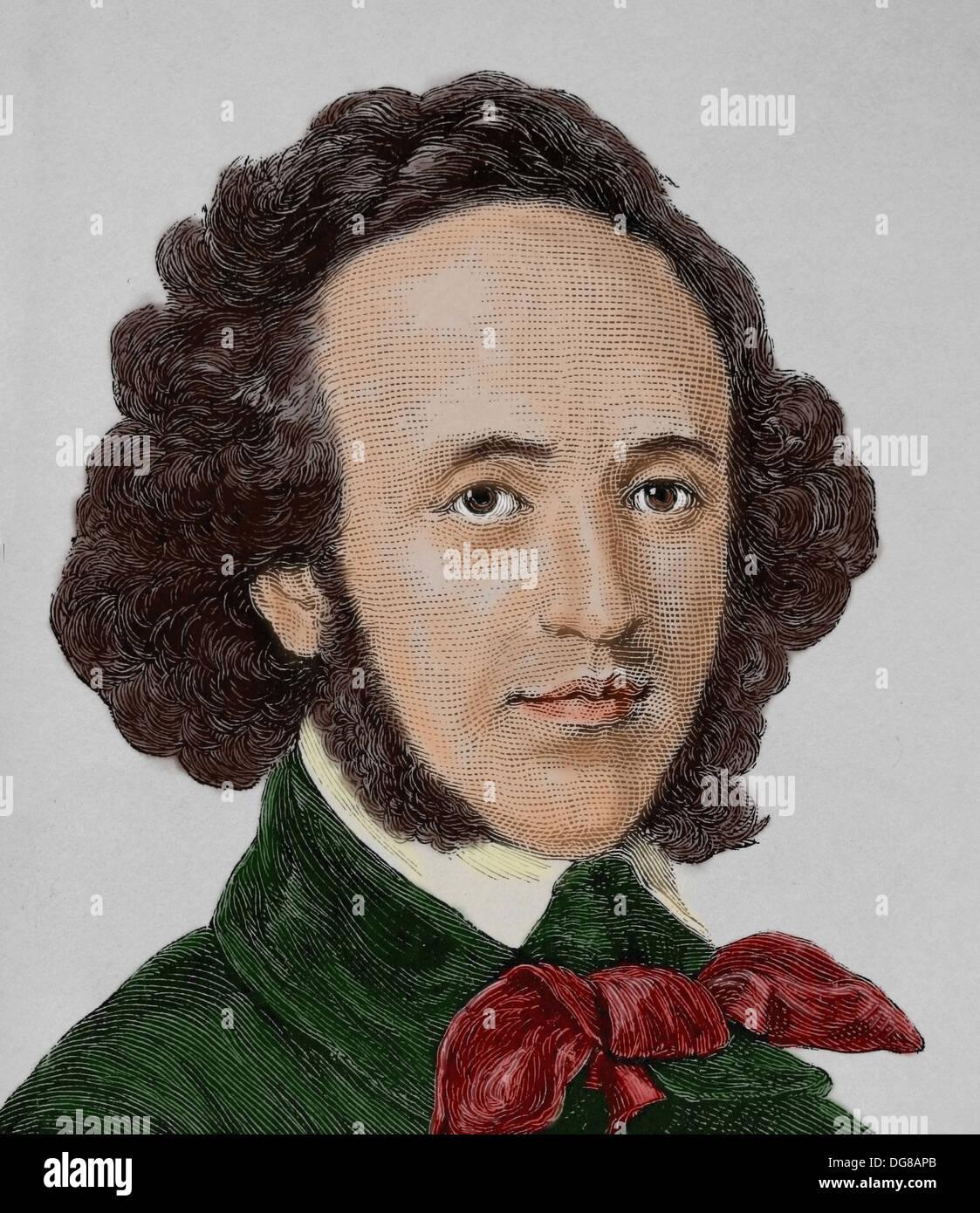 Felix Mendelssohn (1809-1847). Deutscher Komponist, Pianist, Organist und Dirigent der frühen Romantik. Gravur. Stockbild