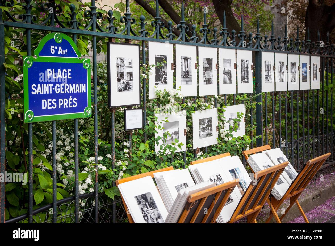 Der Fotograf druckt auf Anzeige zusammen einen Schmiedeeisernen Zaun in St. Germain des Pres, Paris, Frankreich Stockbild