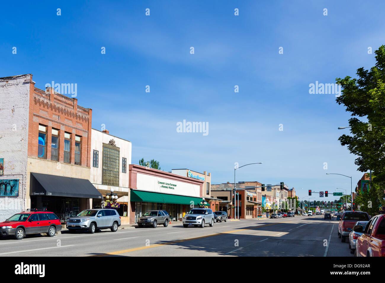 Main Street in Kalispell, Montana, USA Stockbild