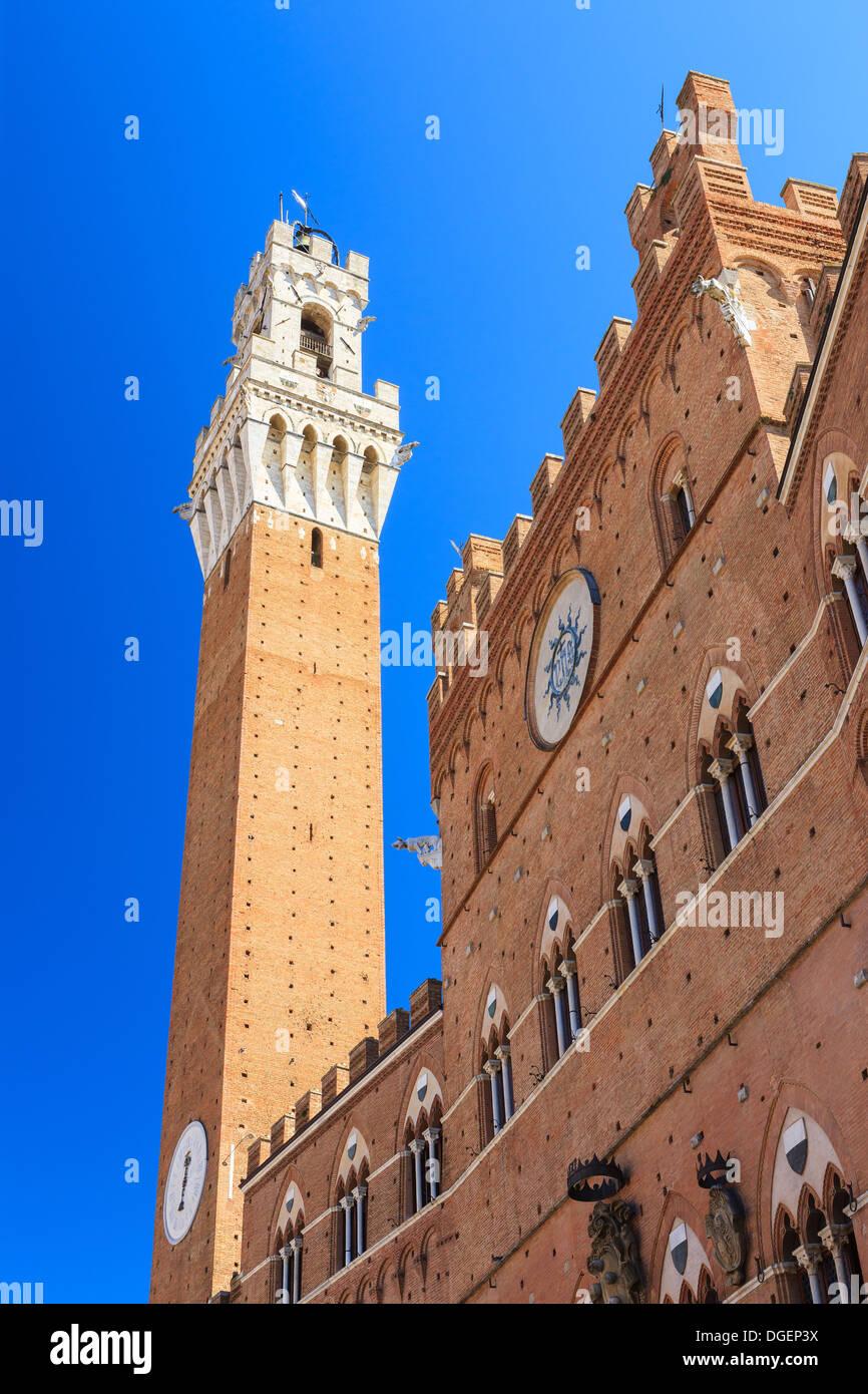 Piazza del Campo ist der größte Platz von Siena mit Blick auf den Palazzo Pubblico und den Torre del Mangia. Stockbild