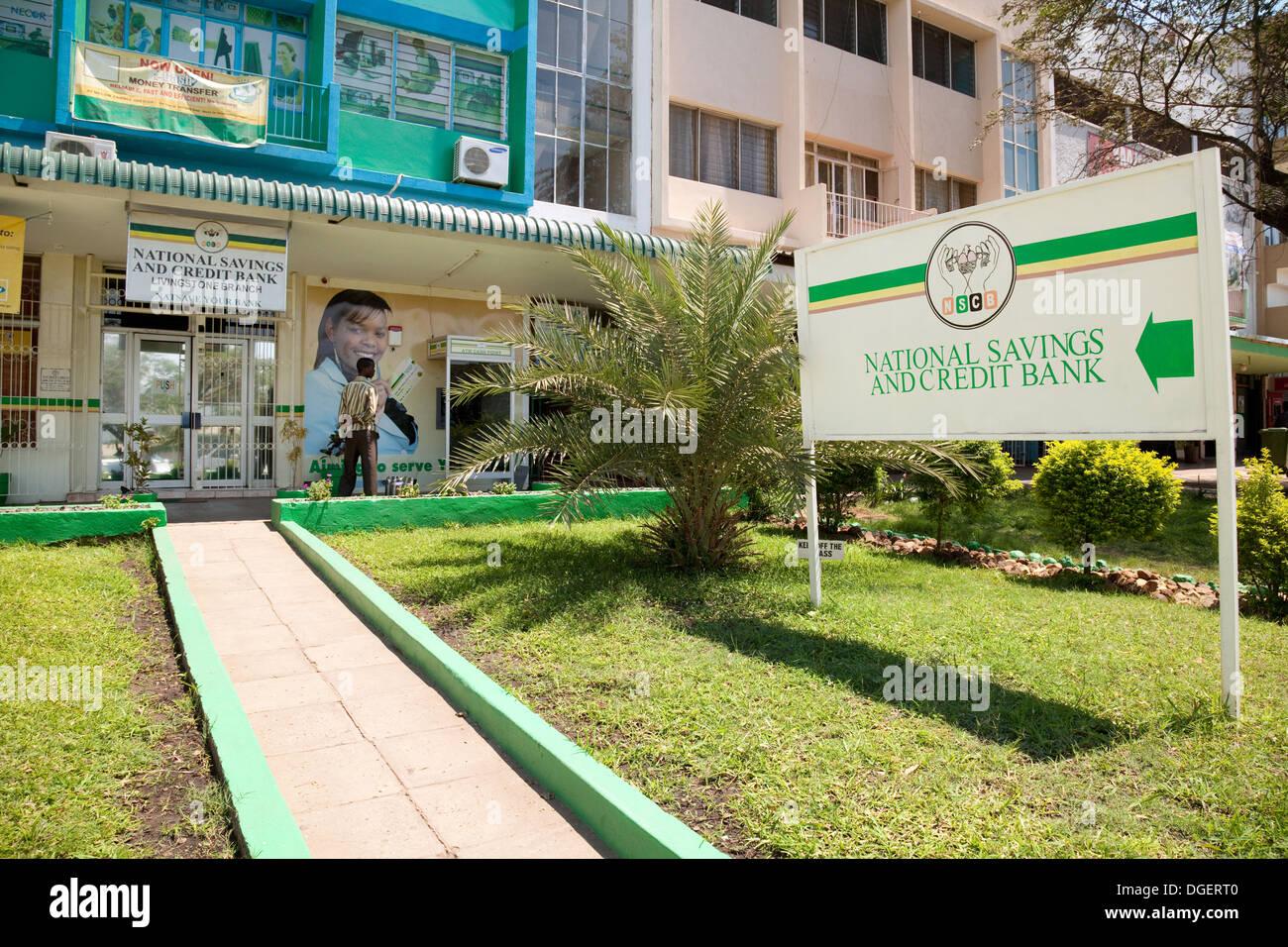 Die nationalen Spar- und Kreditbank, Livingstone Branch, Livingstone, Sambia, Afrika Stockbild