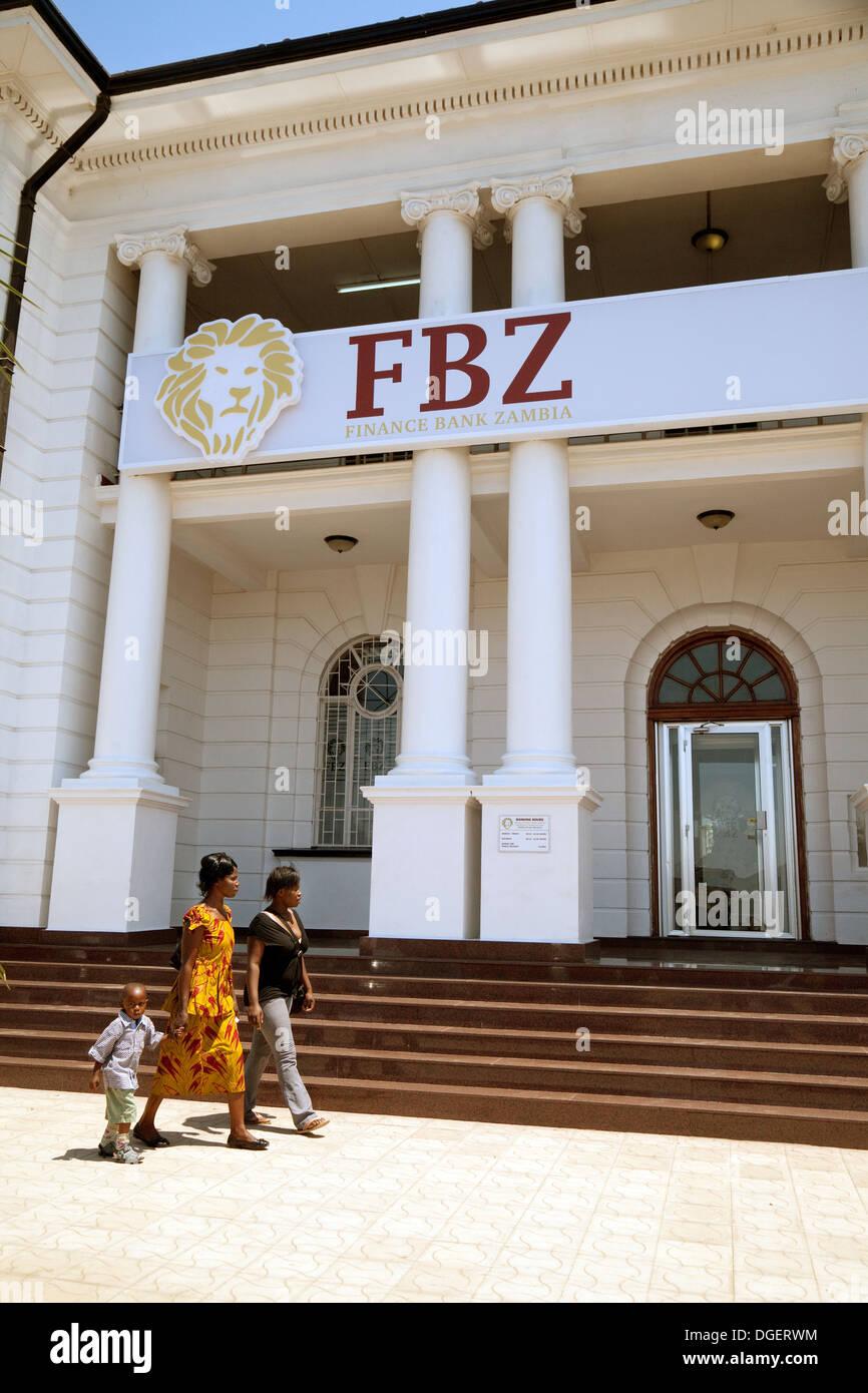 Die Finance Bank of Zambia Bank (FBZ), Livingstone Branch, Livingstone, Sambia, Afrika Stockbild
