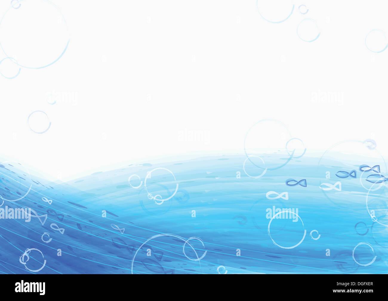 PPT-Hintergrund-Template-Design mit blauen Wellen Stockfoto, Bild ...