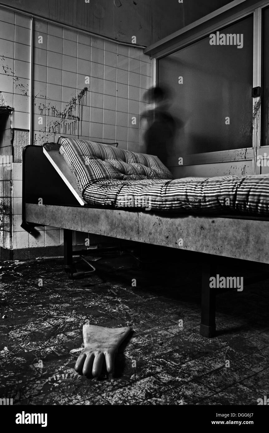 Verlassenen psychiatrischen Krankenhaus. Stockbild