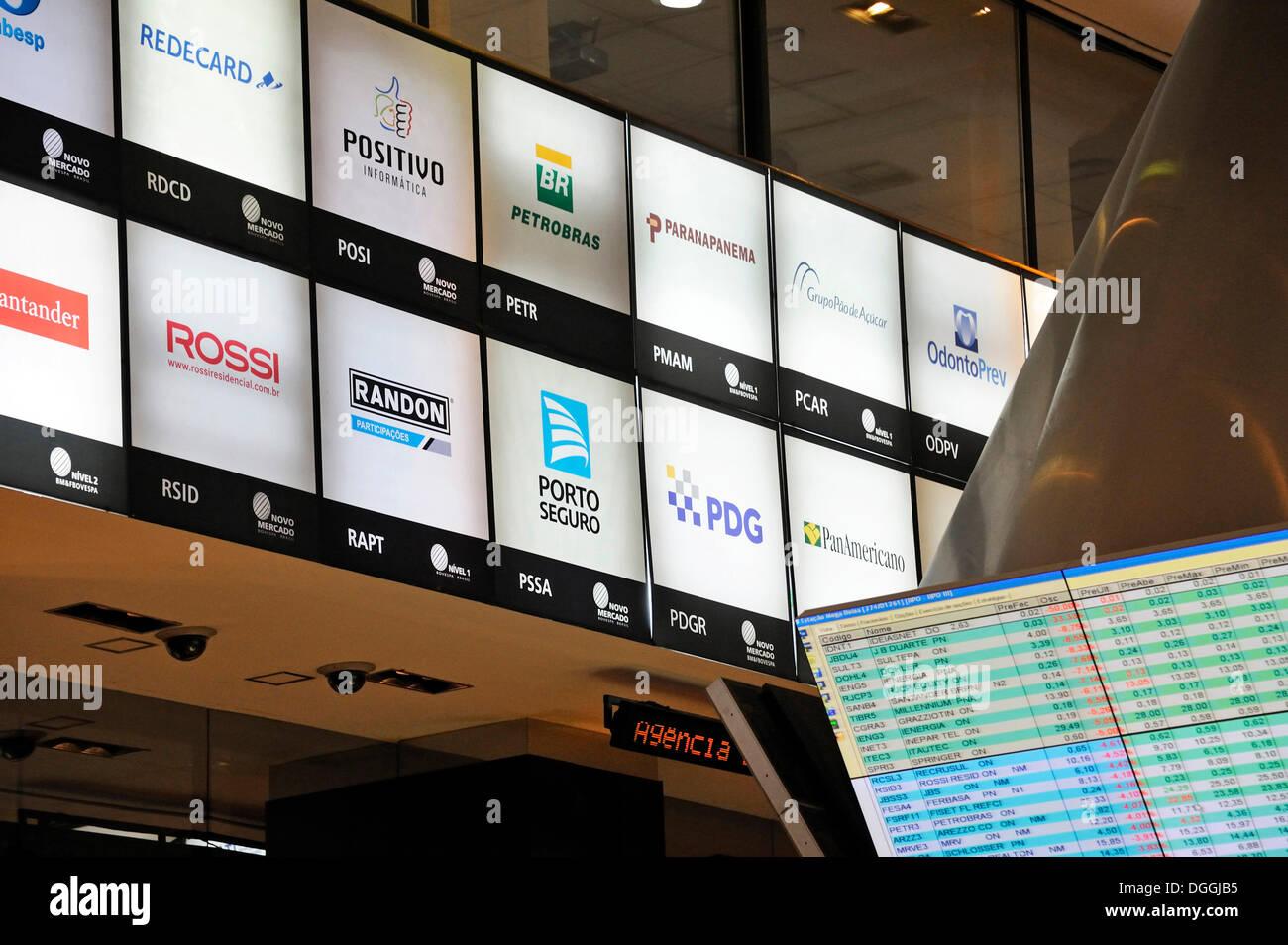 Logos der brasilianischen Aktiengesellschaften, Besucherzentrum der Bovespa, die Börse in Sao Paulo, Brasilien, Südamerika Stockbild