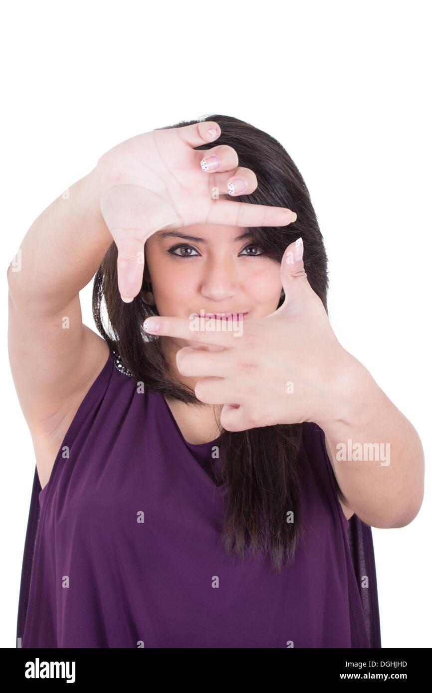 Woman Frame Around Face Isolated Stockfotos & Woman Frame Around ...