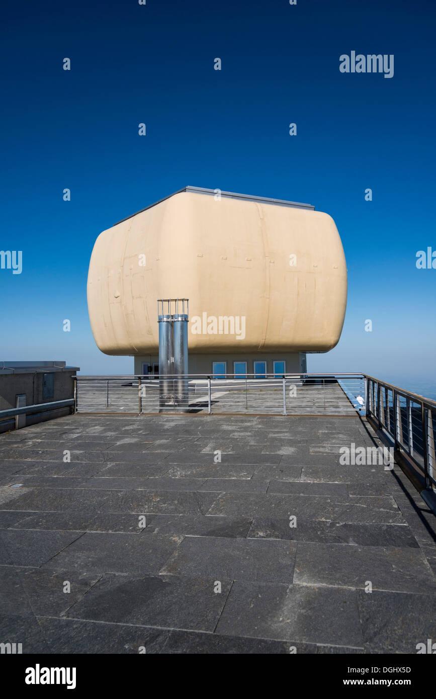 Beobachtungsstelle für erkundet, Säntis, Säntis Berg, Kanton Appenzell Ausserrhoden, Schweiz Stockbild