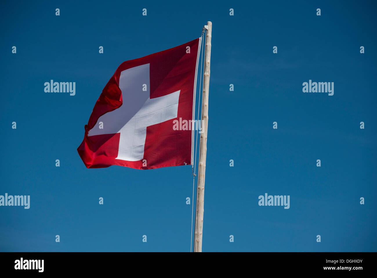 Schweizer Flagge, Säntis, Sänti, Kanton Appenzell Ausserrhoden, Schweiz Stockbild