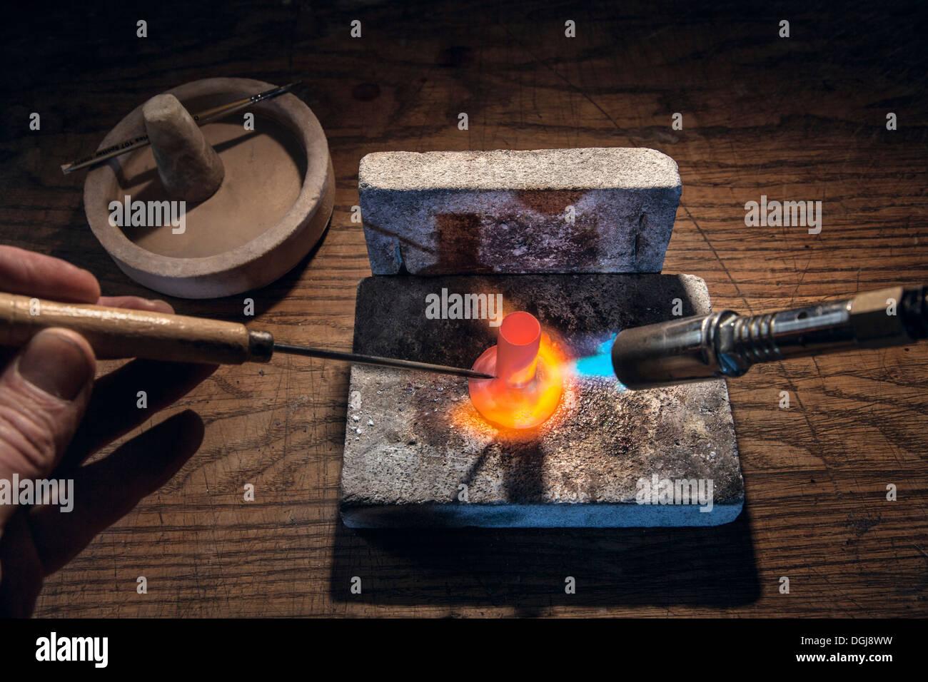 Lötlampe Silber Löten verwendet wird. Stockbild