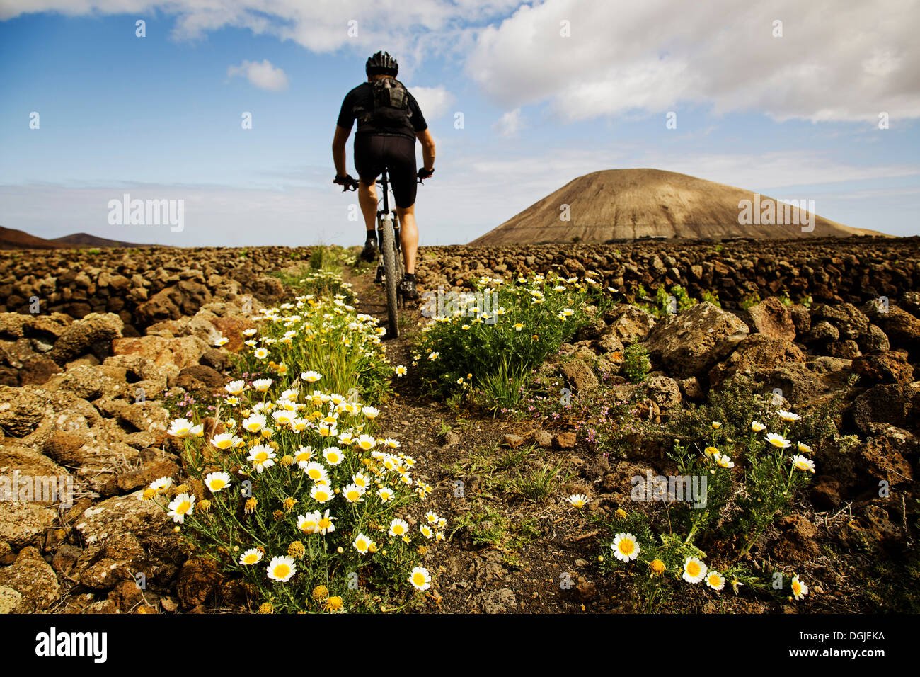 Mann-Mountainbiken, Lanzarote Stockbild