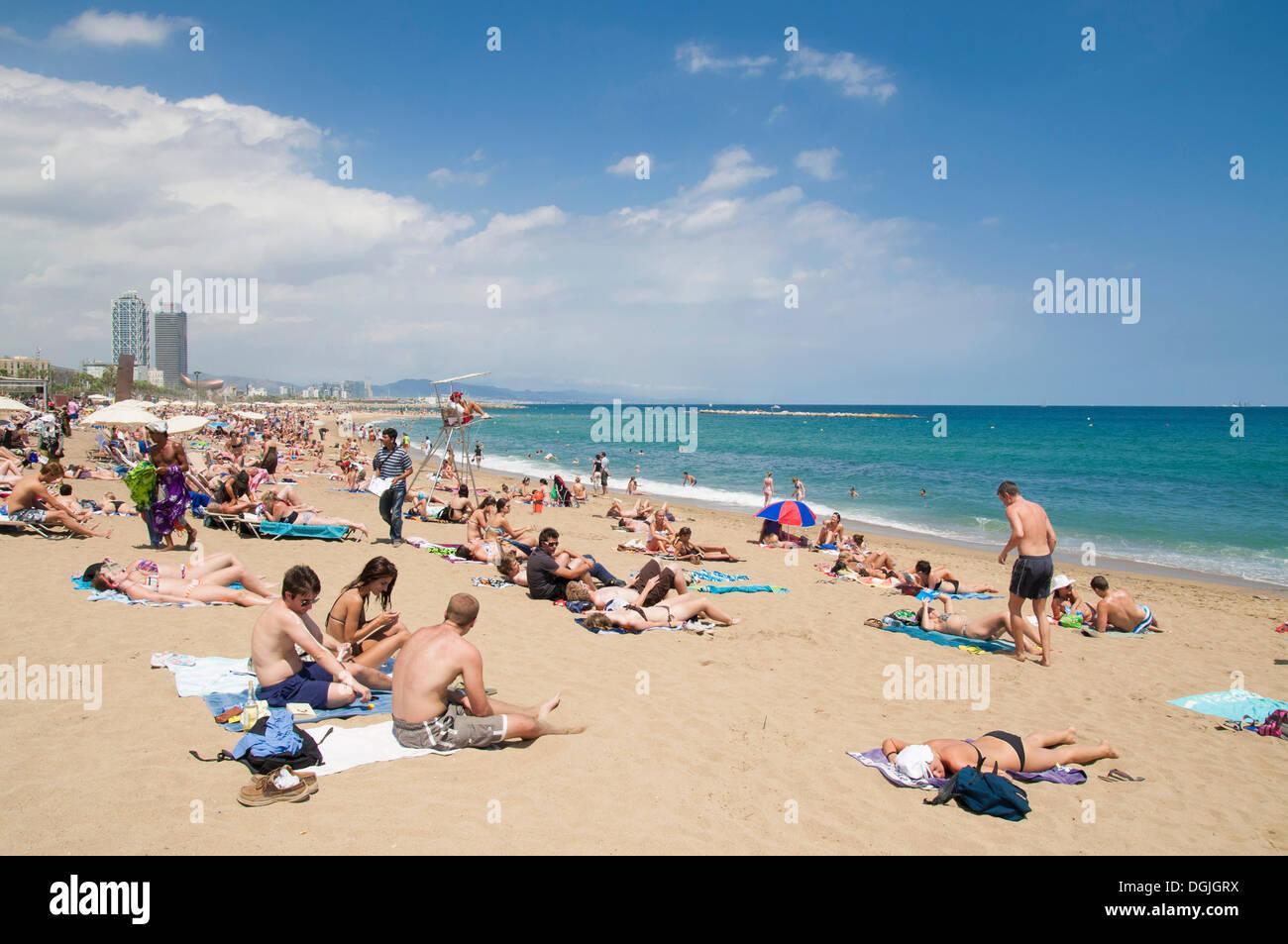 Strand Von Barcelona Katalonien Spanien Europa Stockfoto Bild