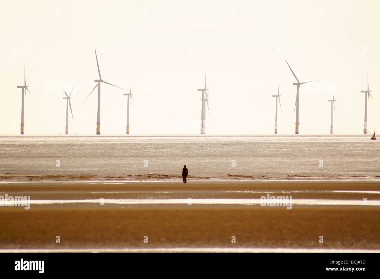 Ein Blick auf Crosby Strand. Stockbild
