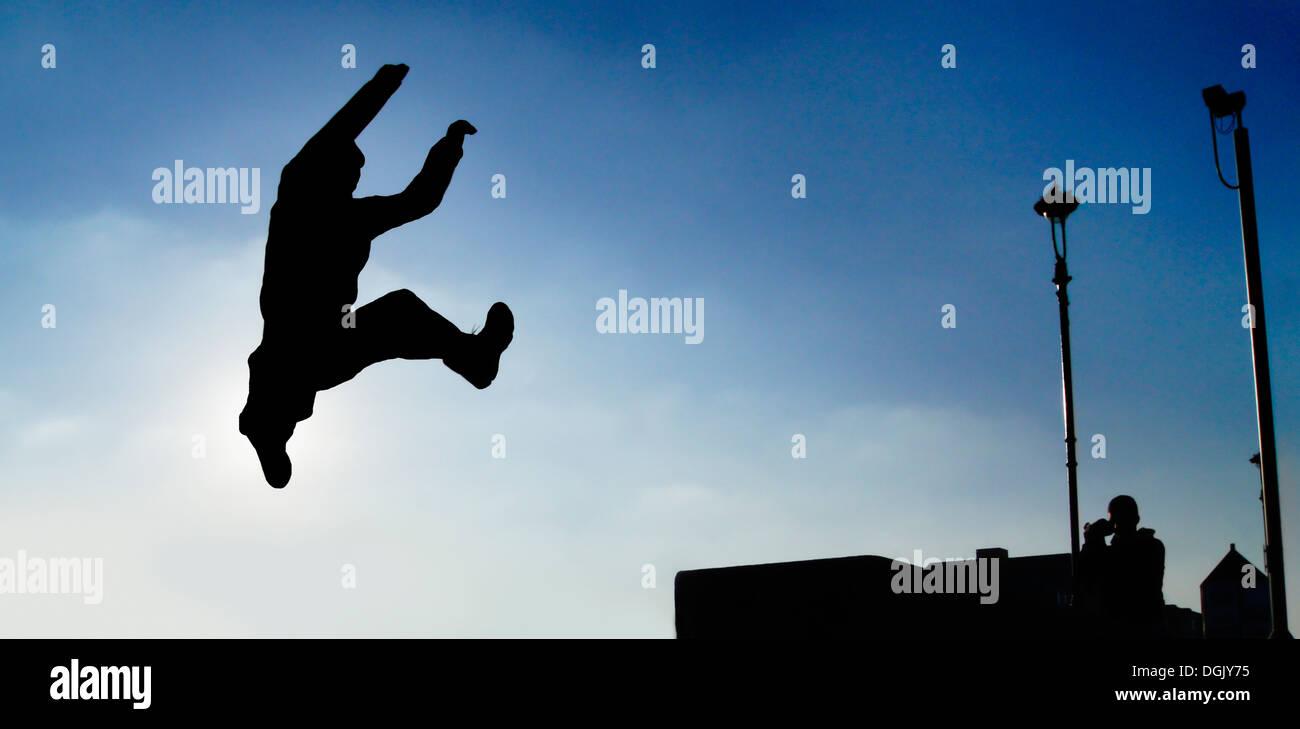 Aktion erschossen von einem Freerunner. Stockbild