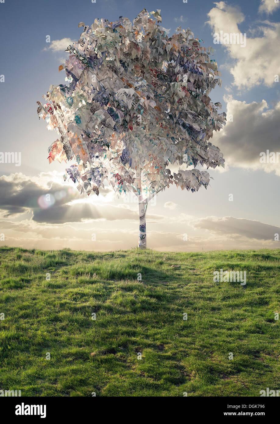 Modell des Baumes mit britischen Banknoten Laub Stockbild