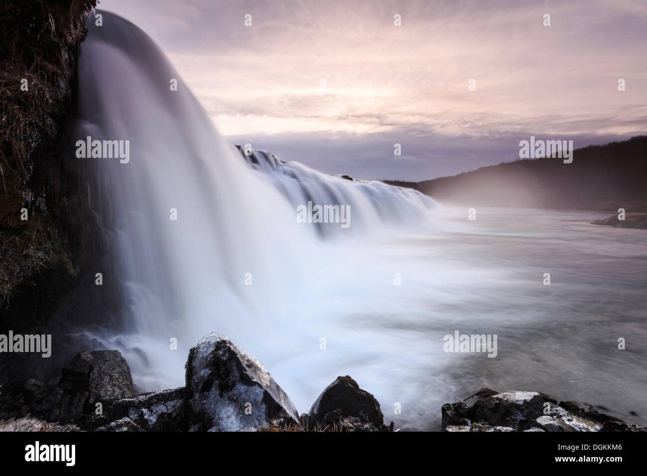 Ein Blick auf den Faxifoss-Wasserfall im Süden Islands. Stockbild