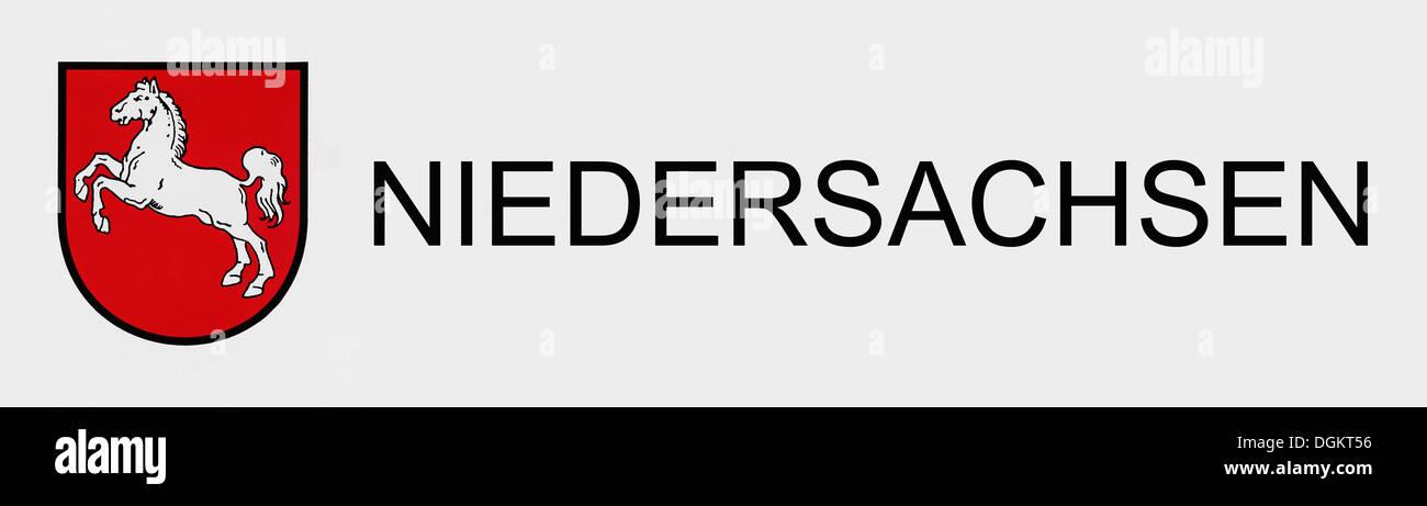 Wappen von Niedersachsen, Niedersachsen, Bundesrepublik Deutschland Stockbild