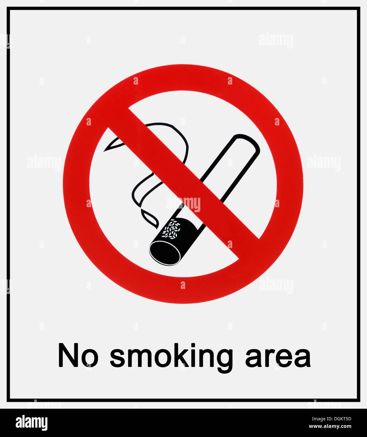 Verbotszeichen, kein Raucherbereich Stockbild