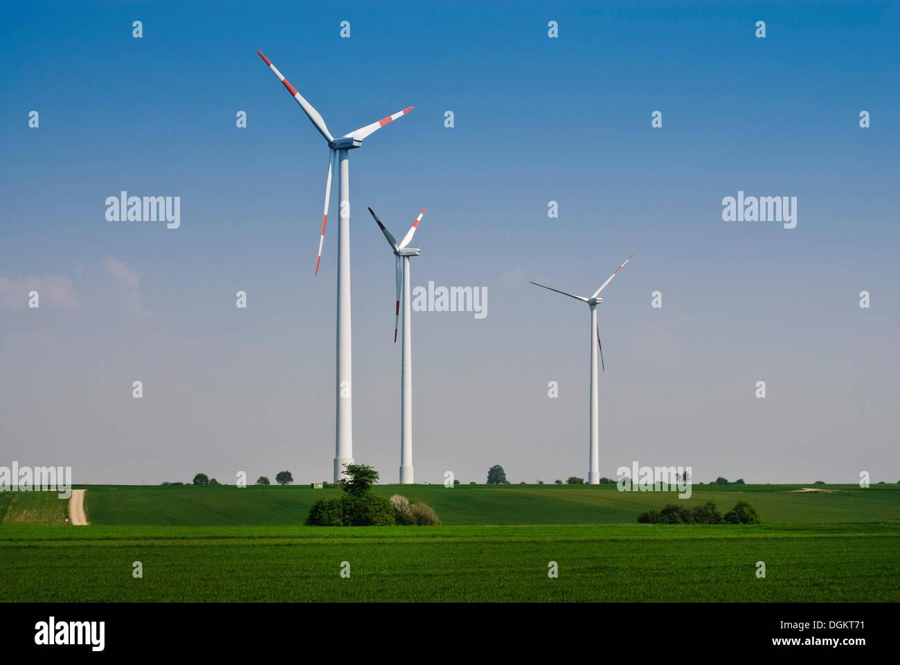 Windkraftanlagen auf dem Festland, wind, erneuerbare Energie Stockbild