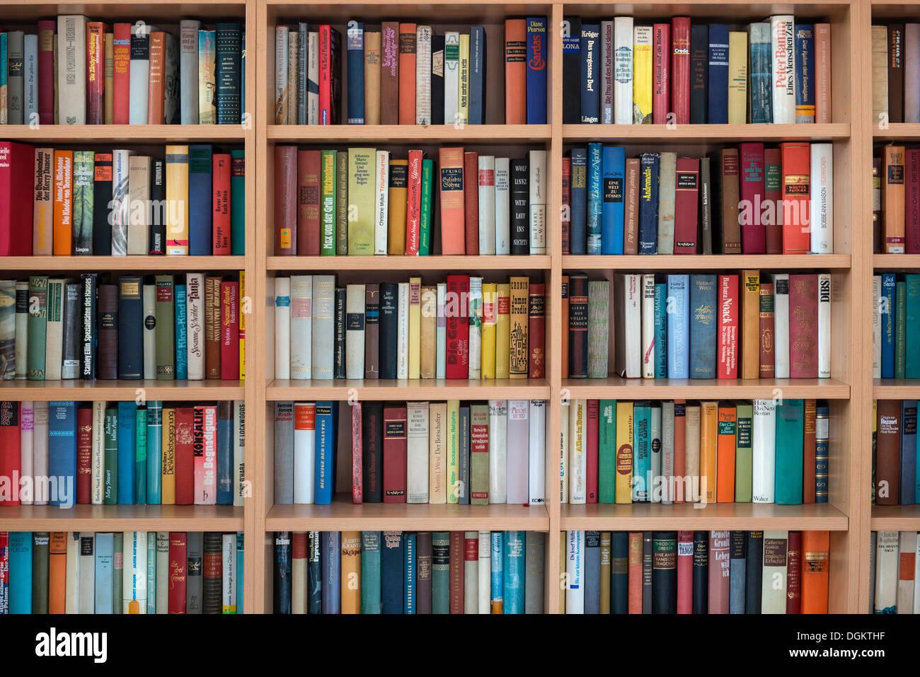 Bücherregal, Wandregal mit deutschen Fiktion Stockbild