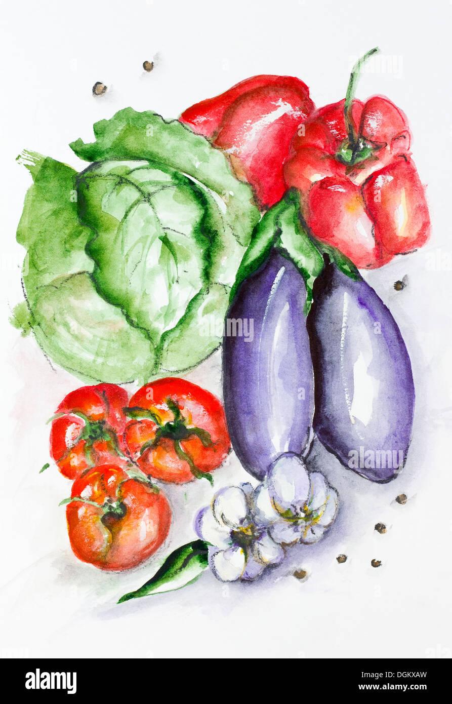Frischen sommerlichen Gemüse Set - handgemachte Aquarell Malerei ...