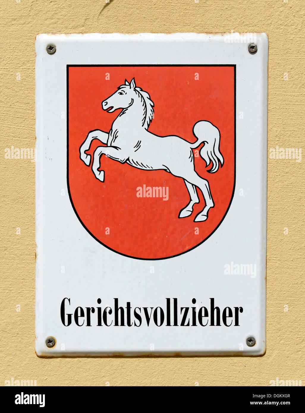 Zeichen, DGVB Niedersachsen, Gerichtsvollzieher Niedersachsen, Winsen eine der Luhe, Niedersachsen, Deutschland Stockbild
