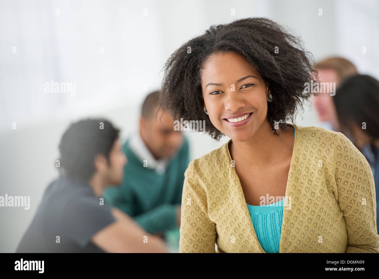 Business-Meeting. Eine zuversichtlich Geschäftsfrau. Führend. Stockbild
