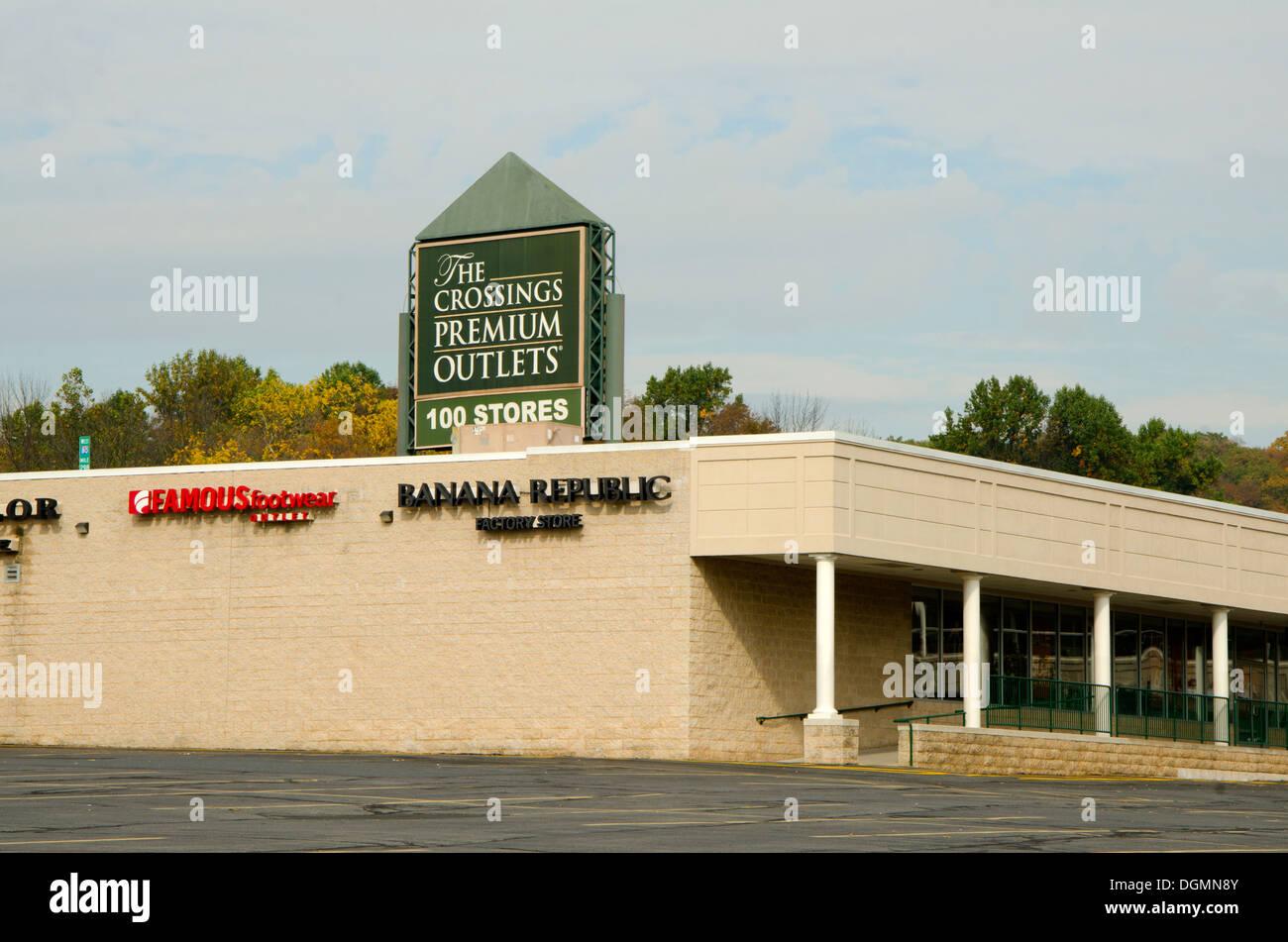 Die Kreuzungen Premium Outlets in den Pocono-pennsylvania Stockbild