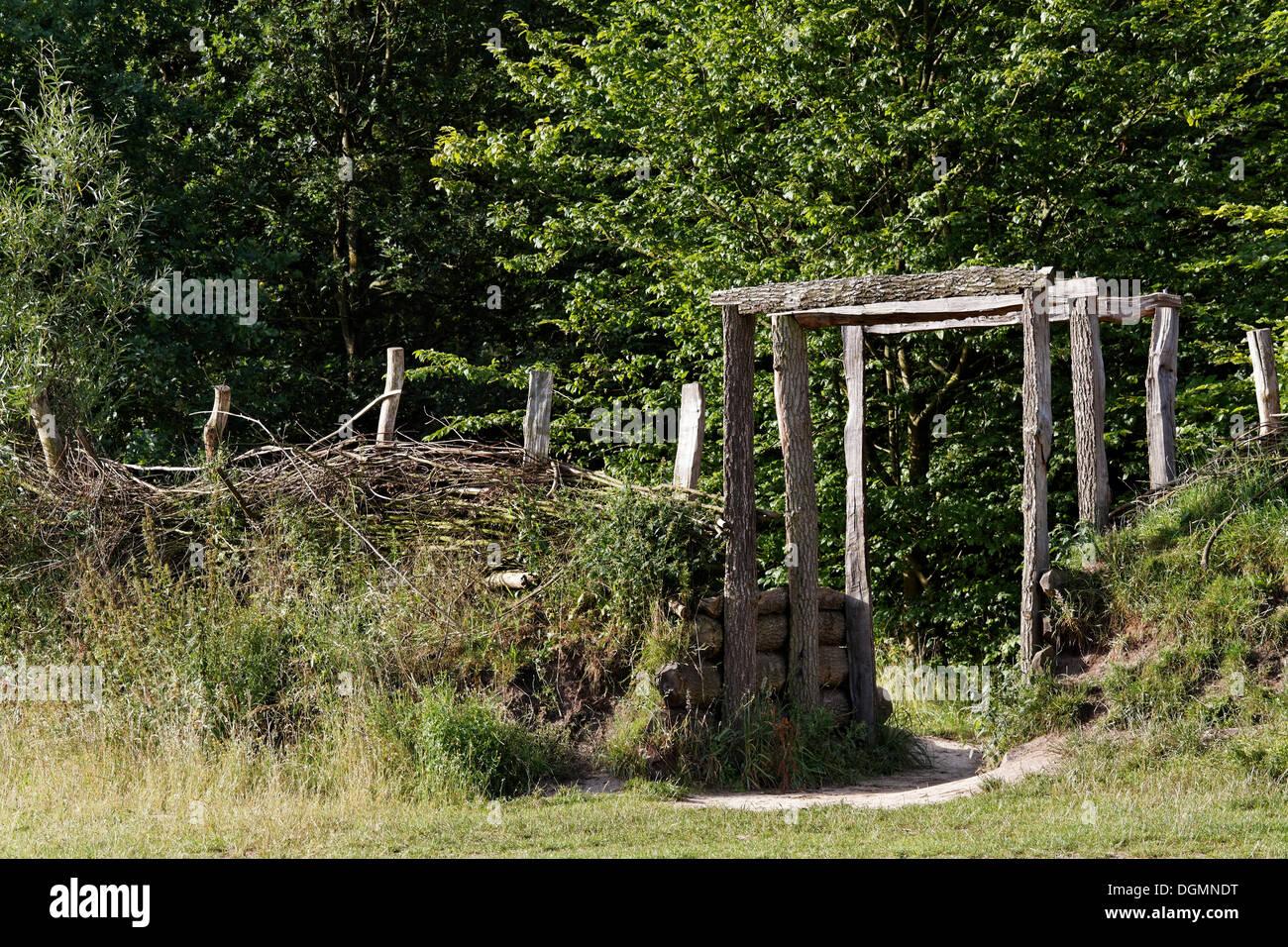 Wehrmauer der deutschen, Reproduktion, Varusschlacht oder Schlacht der Varusschlacht, Kalkriese Museum und Park Stockbild