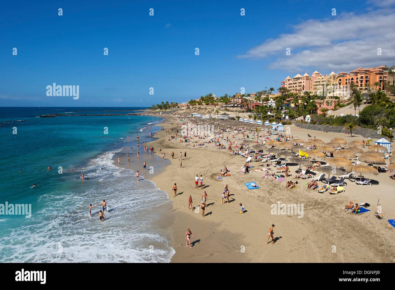 Strand Playa del Duque, Costa Adeje, Teneriffa, Kanarische Inseln, Spanien Stockbild