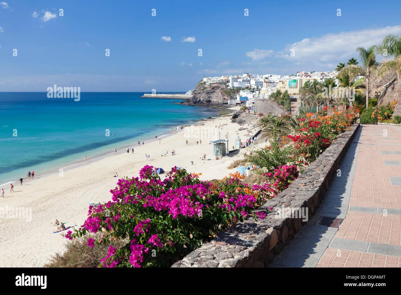 Strandpromenade, Morro Jable, Fuerteventura, Kanarische Inseln, Spanien Stockbild
