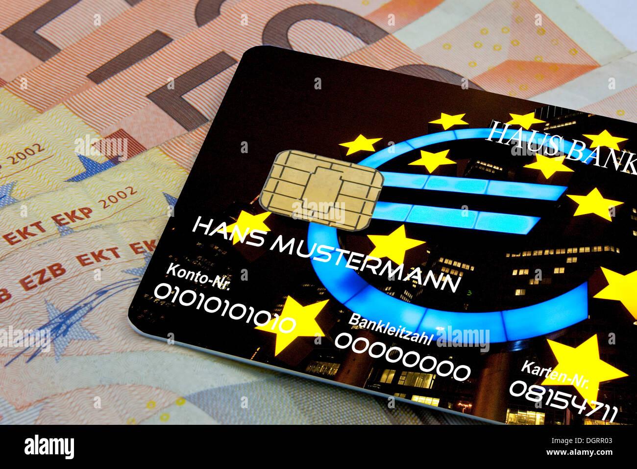 Kreditkarte für die Eurozone als Standardmethode für die Zahlung Stockbild