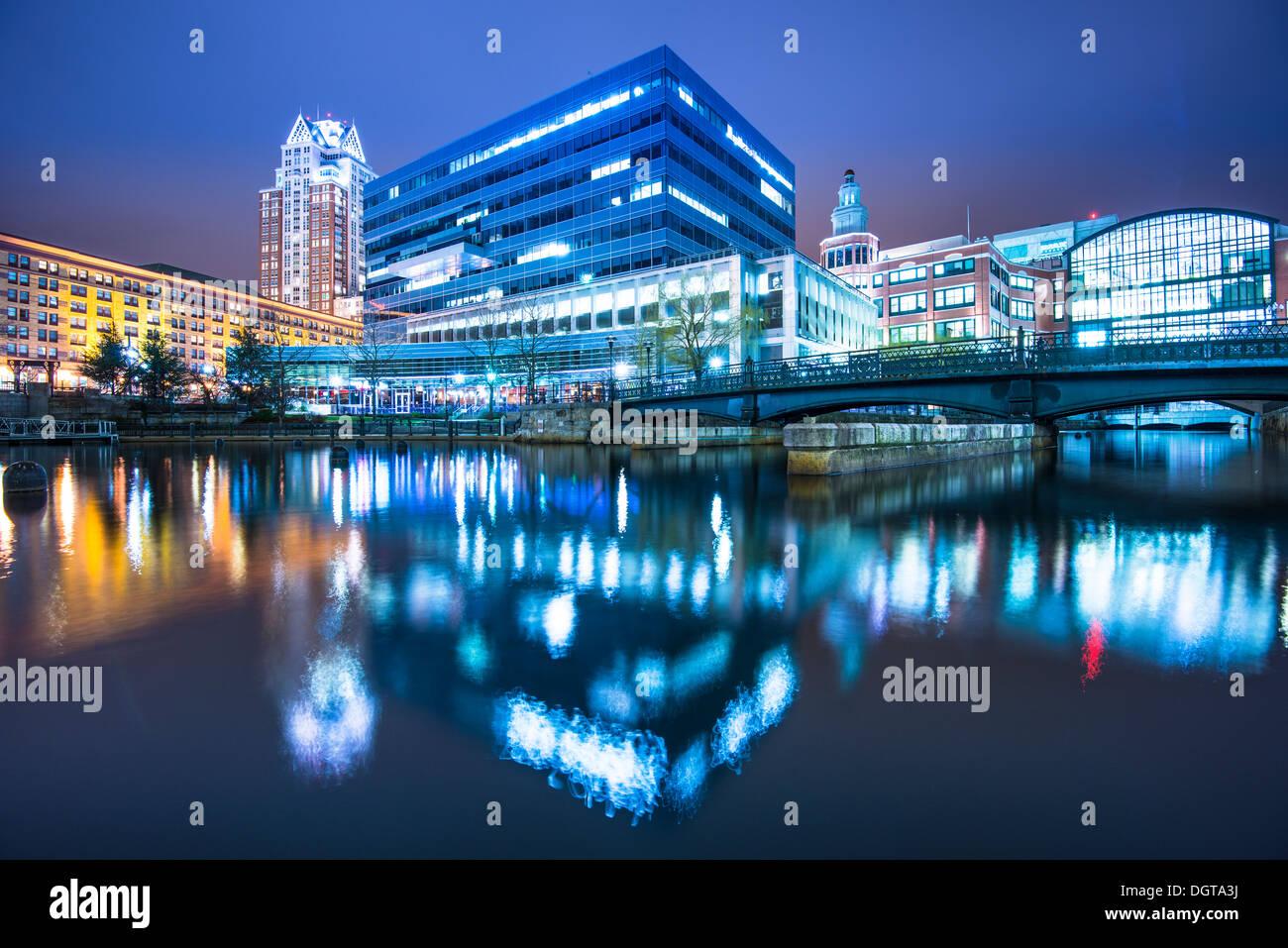 Providence, Rhode Island und Gebäuden im Waterplace Park. Stockbild
