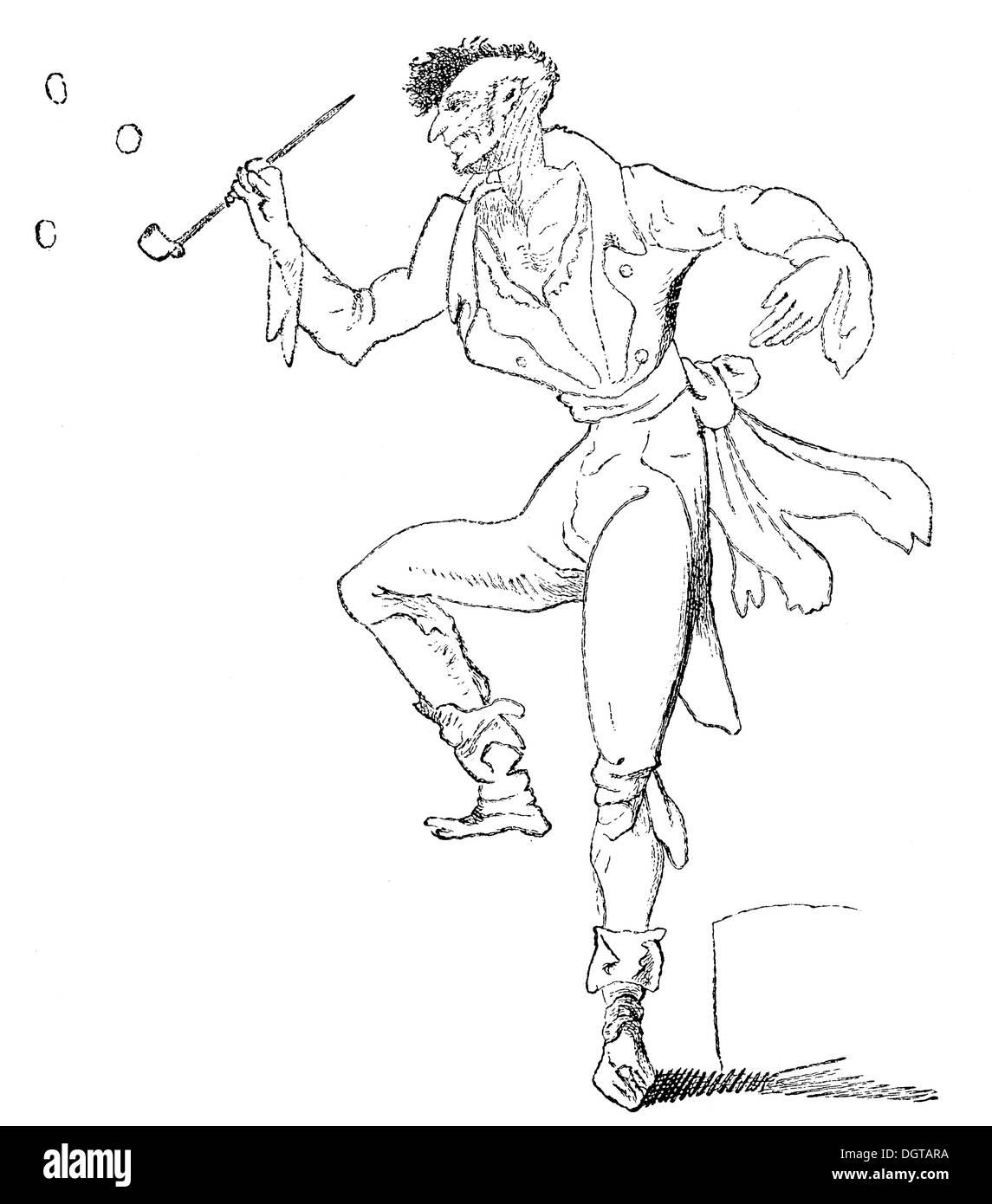 Hoffmann Zeichnung von der wahnsinnigen Kreisler, historische Illustration aus Deutsche Literaturgeschichte, eine Geschichte der deutschen Stockbild