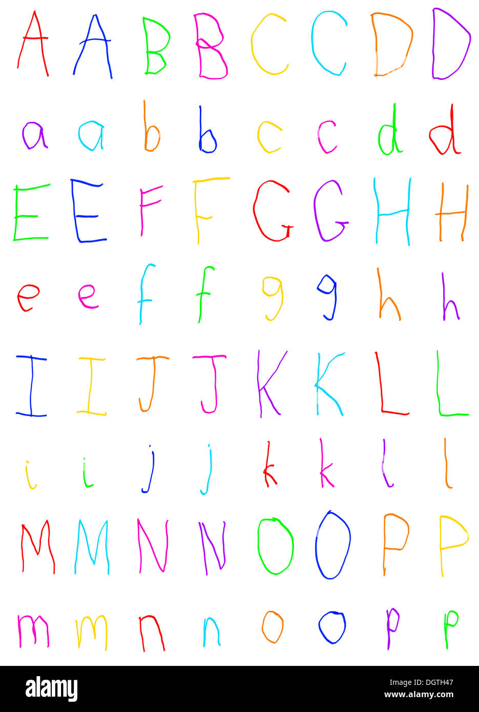 Des Kindes Handschrift Alphabet Buchstaben A bis P Stockfoto, Bild ...